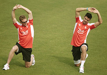 England's Paul Collingwood (left) and Kevin Pietersen at a training session on Monday