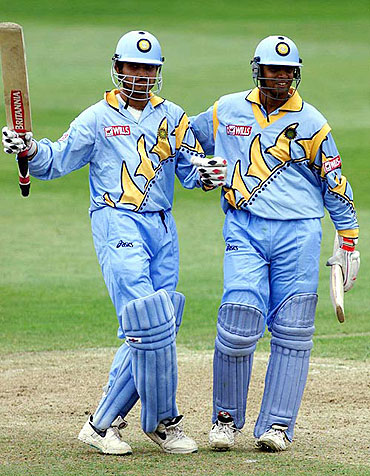 Sourav Ganguly (left) with Rahul Dravid