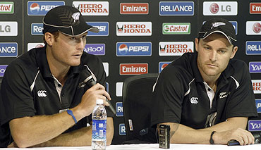 New Zealand's Martin Guptill (left) and Brendon McCullum (right) speak at a news conference in Chennai on Monday