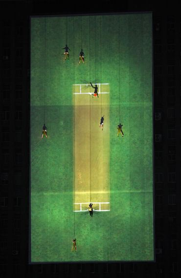 An aerial cricket match during the opening ceremony