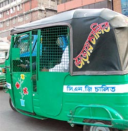 The autorickshaws in Dhaka