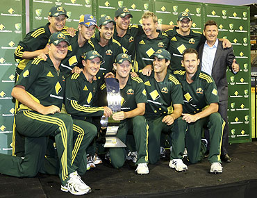 Australian One-Day team pose with the trophy after their series win over England on February 6