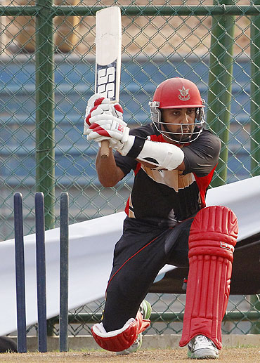 Canada's captain Ashish Bagai prepares to play a shot during a practice session in Hambantota district on Saturday