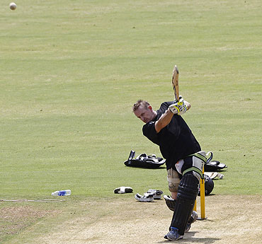 New Zealand's Scott Styris bats in the nets in Chennai on Friday