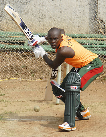 Kenya's Morris Ouma bats in nets in Chennai on Friday