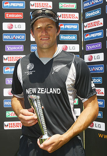 Hamish Bennett with the man-of-the-match trophy