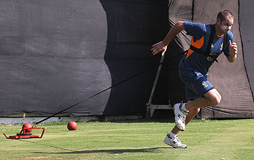 John Hastings runs a speed drill during an Australian nets session at Sardar Patel Stadium in Ahmedabad, on Sunday