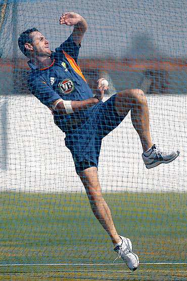 Shaun Tait bowls in the nets during a training session at the Sardar Patel Stadium on in Ahmedabad on Friday
