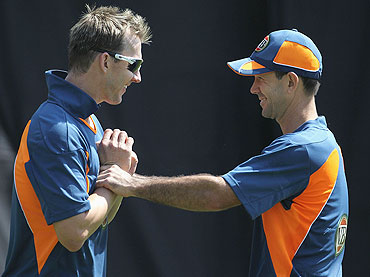 Brett Lee (left) and Ricky Ponting share a joke during a nets session at Sardar Patel Stadium, Ahmedabad, on Saturday