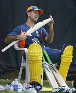 Ricky Ponting at Australia's practice session in Ahmedabad on Sunday