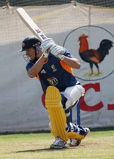 Shane Watson in action during a practice session