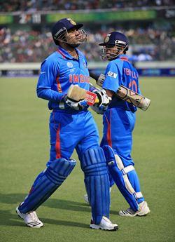 Sehwag and Tendulkar in the match against Bangladesh