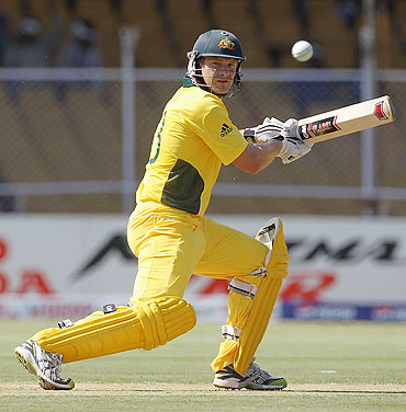 Australian opener Shane Watson in action during the match against Zimbabwe