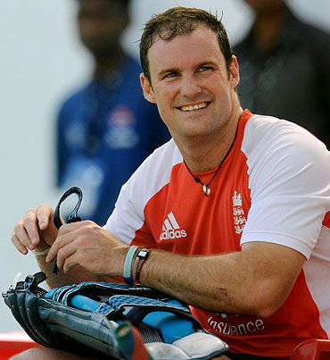 England's captain Andrew Strauss smiles during the nets session in Nagpur on Monday