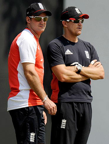 England's captain Andrew Strauss (left) with coach Andy Flower during a training session in Nagpur on Monday