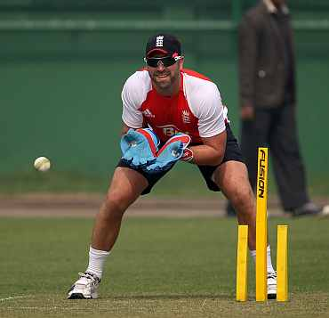 Matt Prior at a net session