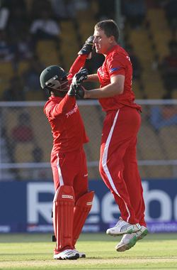 Ray Price with Tatenda Taibu after dismissing David Hussey