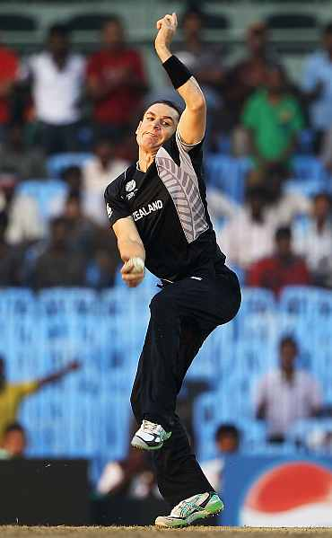 Nathan McCullum bowls during his match against Kenya