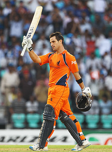 Ryan ten Doeschate celebrates after scoring a century against England on Tuesday