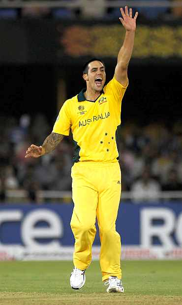 Mitchell Johnson appeals for a wicket during his match against Zimbabwe in Ahmedabad