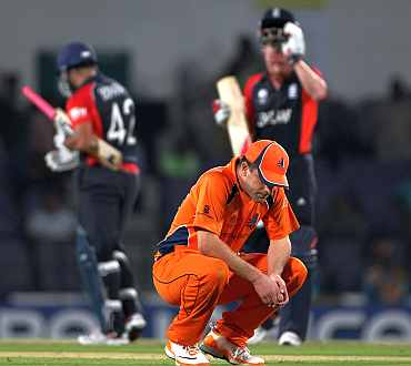 Netherlands captain Peter Borren looks dejected after losing the match during the World Cup match against England
