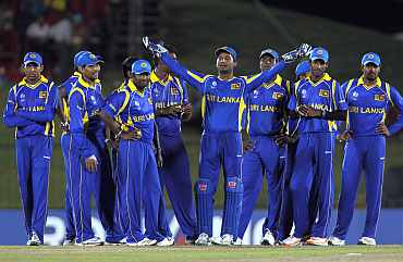 Sri Lankan team celebrates after winning their match