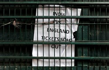 A sign on a ticket booth at the M. Chinnaswamy Stadium in Bangalore on Thursday