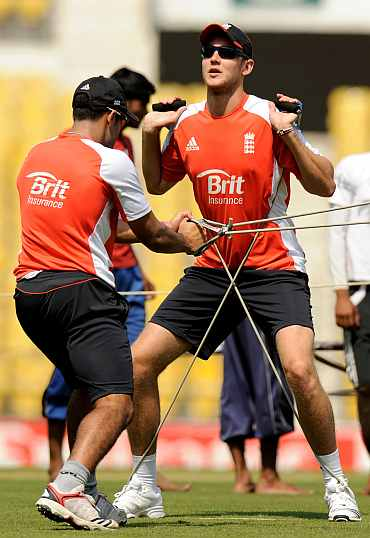 Stuart Broad during a training session