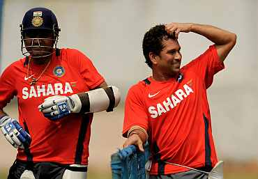 Sachin Tendulkar and Vireder Sehwag duing a practice session in Bangalore
