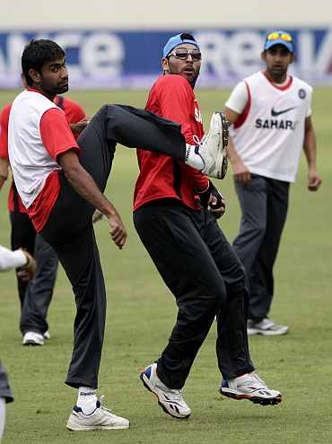 Munaf Patel and Yuvraj Singh during a warm-up session