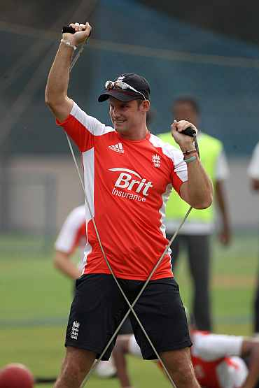 Andrew Strauss during a practice session in Bangalore