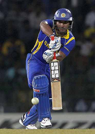 Sri Lanka's captain Kumar Sangakkara hits a shot during their World Cup match against Pakistan