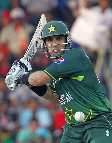 Misbah-ul-Haq plays a shot during the World Cup match against Sri Lanka