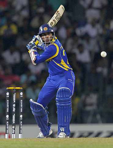 Sri Lanka's Tillakaratne Dilshan hits a shot during their World Cup match against Pakistan