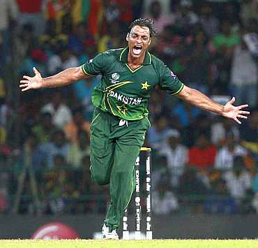Pakistan's Shoaib Akhtar celebrates after picking up a wicket