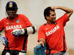 Sehwag and Tendulkar in training