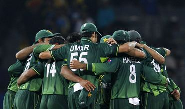 The Pakistanis get into a huddle
