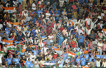 Indian fans at the Chinnaswamy stadium
