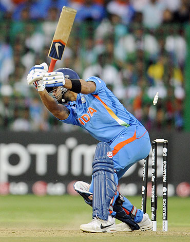 Virat Kohli is bowled by Tim Bresnan