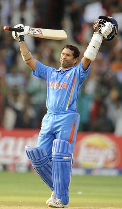Tendulkar after reaching his 100