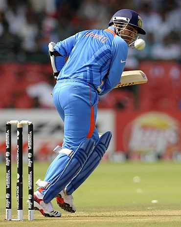 Virender Sehwag plays a shot during the World Cup match against England