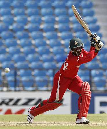 Zimbabwe's Tatenda Taibu plays a shot during their World Cup Group A match against Canada