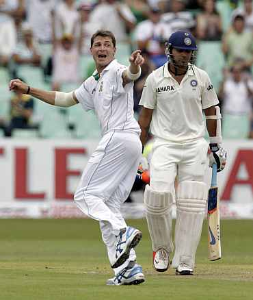 Dale Steyn celebrates after picking up the wicket of Murali Karthik