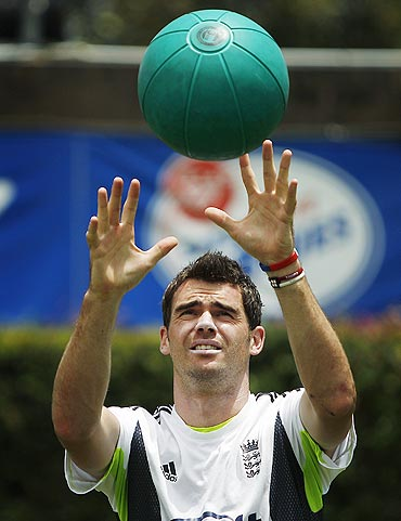 England's James Anderson warms up before bowling during a team practice session at the Sydney Cricket Ground on Sunday
