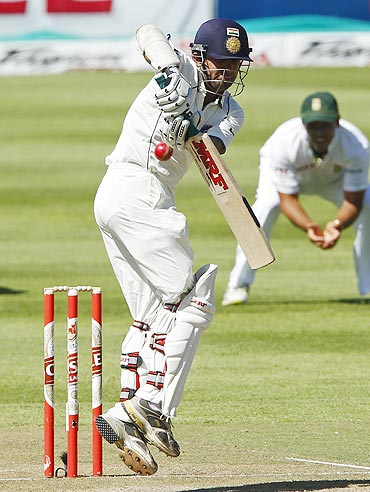 India's Gautam Gambhir plays a defensive shot
