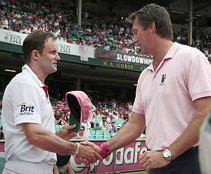 Andrew Strauss and Glen McGrath