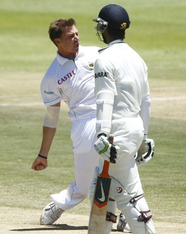 Dale Steyn celebrates the wicket of Cheteshwar Pujara