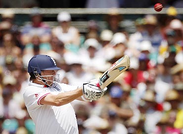 England's Graeme Swann plays a hook shot during the 4th Day's play on Thursday
