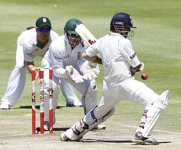 Gautam Gambhir plays a shot during the Test match