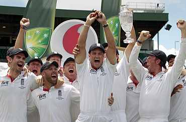 England's Andrew Strauss celebrates after winning the Ashes against Australia in Sydney